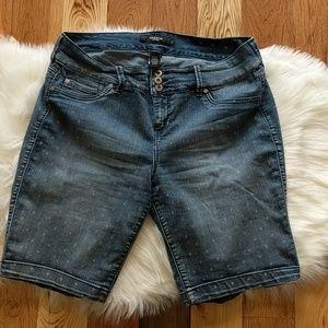 98de31034bb21 torrid Shorts - Torrid Bermuda Length Polka Dot Denim Jean Shorts
